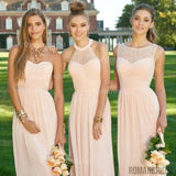 2018 Newest Fashion Pink chiffon Simple Pleats Cheap Formal Prom Party Dress, Long Bridesmaid Dresses, BD0407