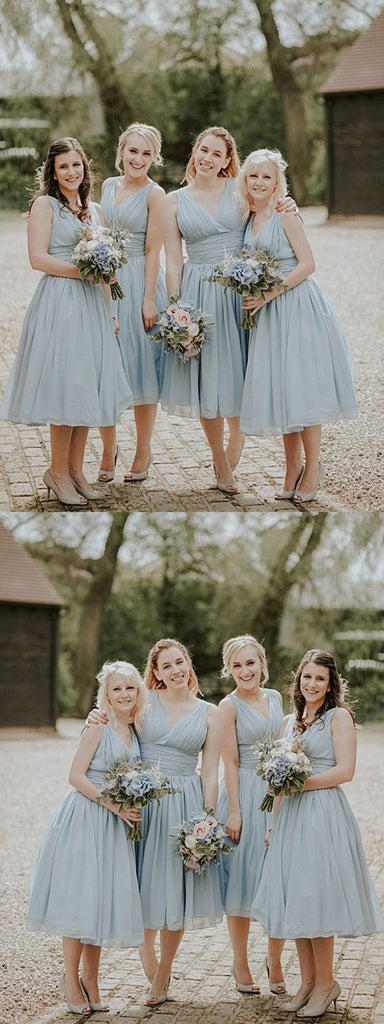 Stunning Chiffon V-neck Tea-length A-line Fitted Bridesmaid Dress With Pleats, BD0497