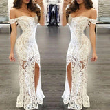 Mermaid Off-shoulder White Lace Prom Dress With Split, PD0610