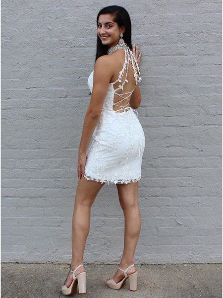 Halter Beading Sleeveless Appliques Lace-up Back Homecoming Dresses, HD0543