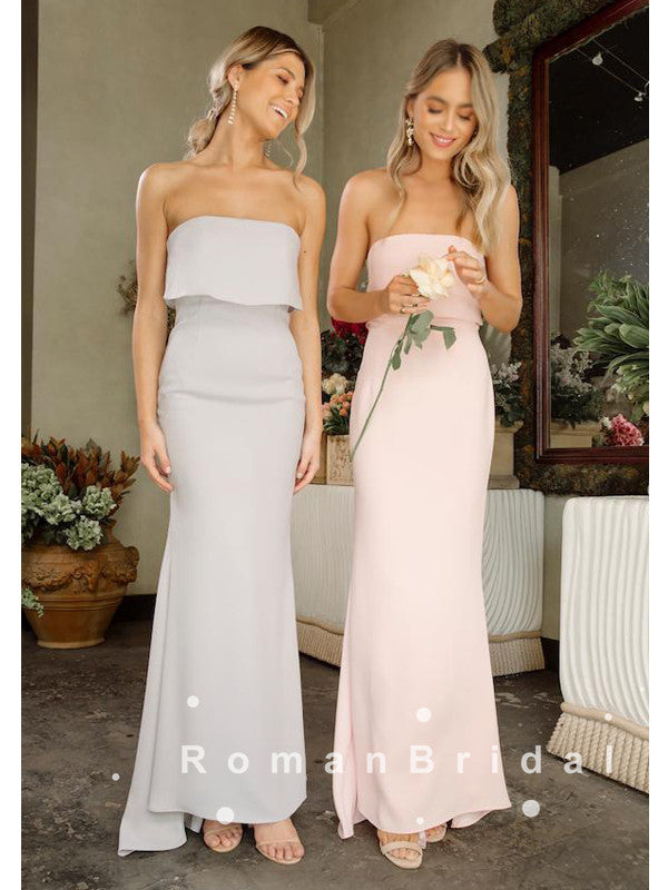 Simple Mermaid Strapless Cheap Long Bridesmaid Dresses Online,RBWG0003