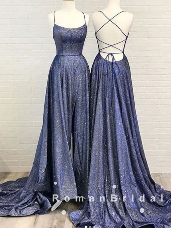 Sparkly A-Line Spaghetti Straps Cross Back Split Side Long Prom Dresses With Pockets,RBPD0030