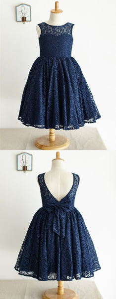 A-line See-though Full Navy Blue Lace Flower Girl Dresses With Bow, FG0147