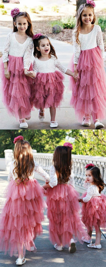 A-line Round Neck Lace Long Sleeves Tulle Flower Girl Dresses, FG0139