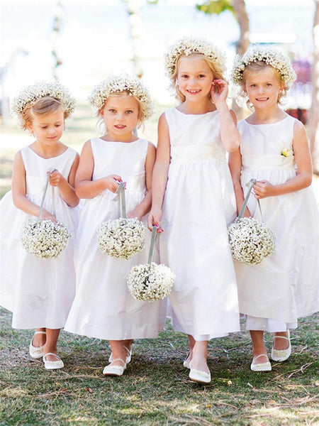 A-line Bateau Neck Sleeveless Simple White Satin Flower Girl Dresses, FG0146