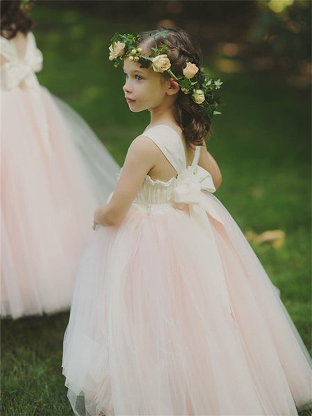 A-line Princess Sleeveless Pink Tulle Flower Girl Dresses With Bow, FG0145