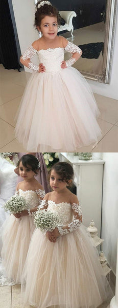 A-line Round Neck Long Sleeves Lace Tulle Flower Girl Dresses, FG0136