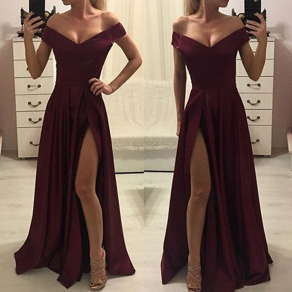 Off-shoulder Burgundy High Split Simple Cheap Prom Dress, PD0636