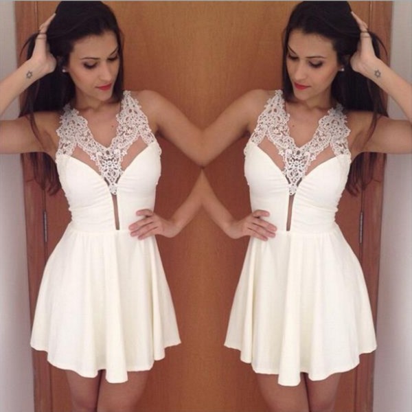 Simple Sexy White Lace Appliques Deep V-neck Mini Homecoming Dresses, HD0387