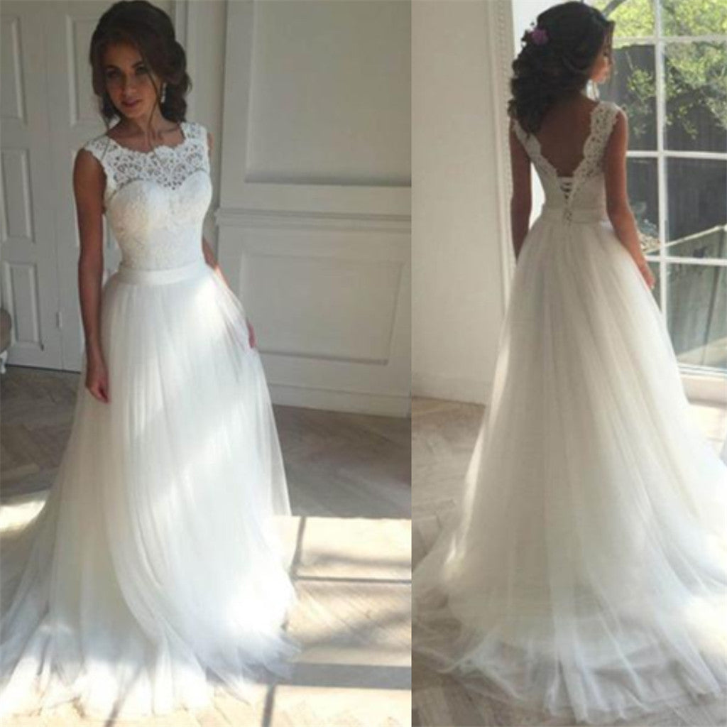White Lace top Bateau sleeveless Appliques tulle Ball Gown Wedding Dresses with train, WD0337