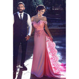 Charming Off-shoulder Pink Lace Long Prom Dress With Train, PD0609