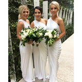 Modest white floor length one-shoulder Pleats simple cheap Bridesmaid Dresses, BD0445