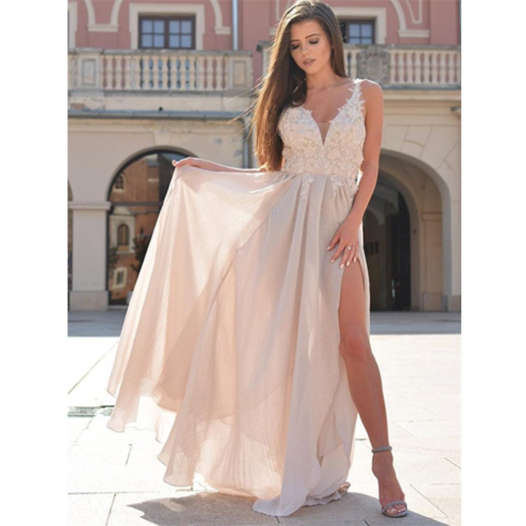 Floor-length A-Line V-Neck Appliques Top Chiffon Split Long Prom Dress, PD0136