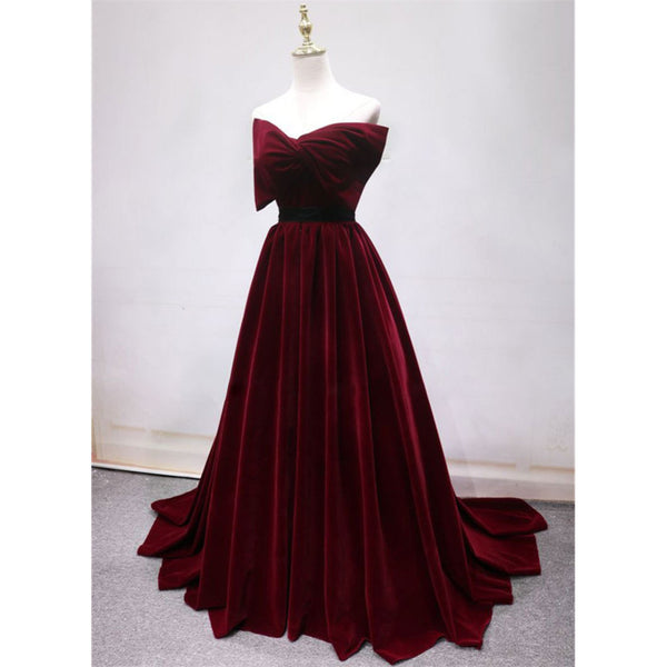 Gorgeous Burgundy Lace Back Up Prom Dresses With Belt, PD0703