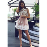 Amazing A-line Juniors White Lace Appliques Short Tulle Homecoming Dresses, HD0425