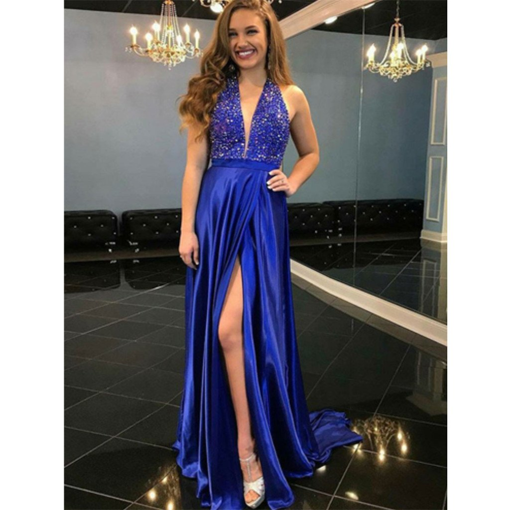 A-Line Deep V-Neck Sleeveless Royal Blue High Split Long Prom Dress, PD0130