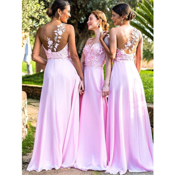 A-line Floor-length Sweetheart Backless Lace Appliques Top Bridesmaid dresses, BD0521