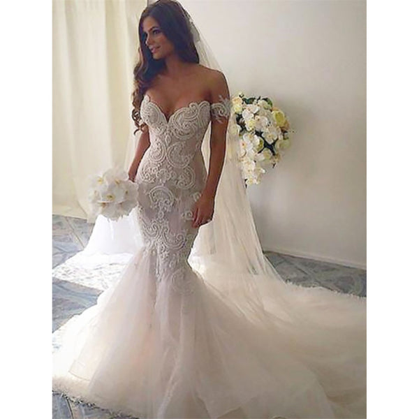 Backless Wedding Dresses.Newest Mermaid Off The Shoulder Lace Backless Wedding Dresses With Train Wd0404 Newest Mermaid Off The Shoulder Lace Backless Wedding Dresses With