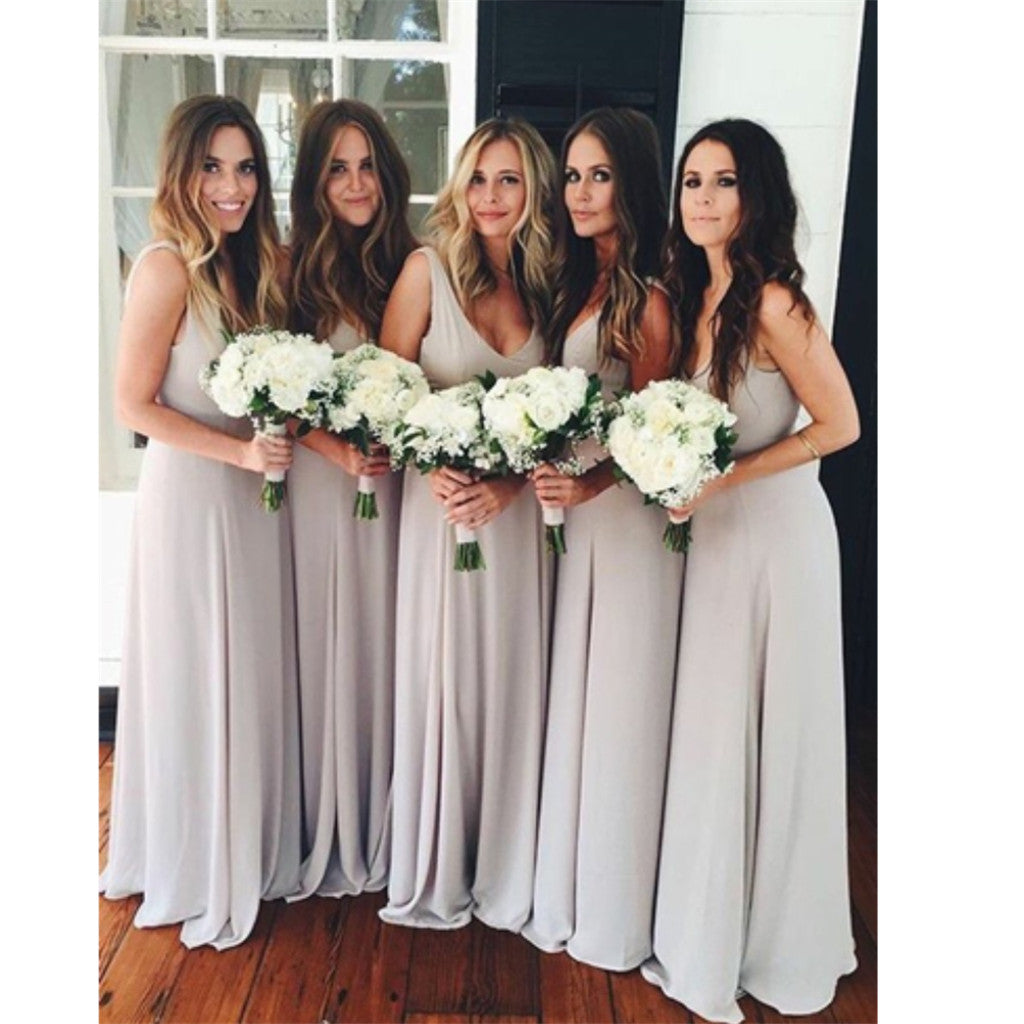 Popular Floor-length A-Line Scoop simple cheap Chiffon Bridesmaid Dress , BD0435