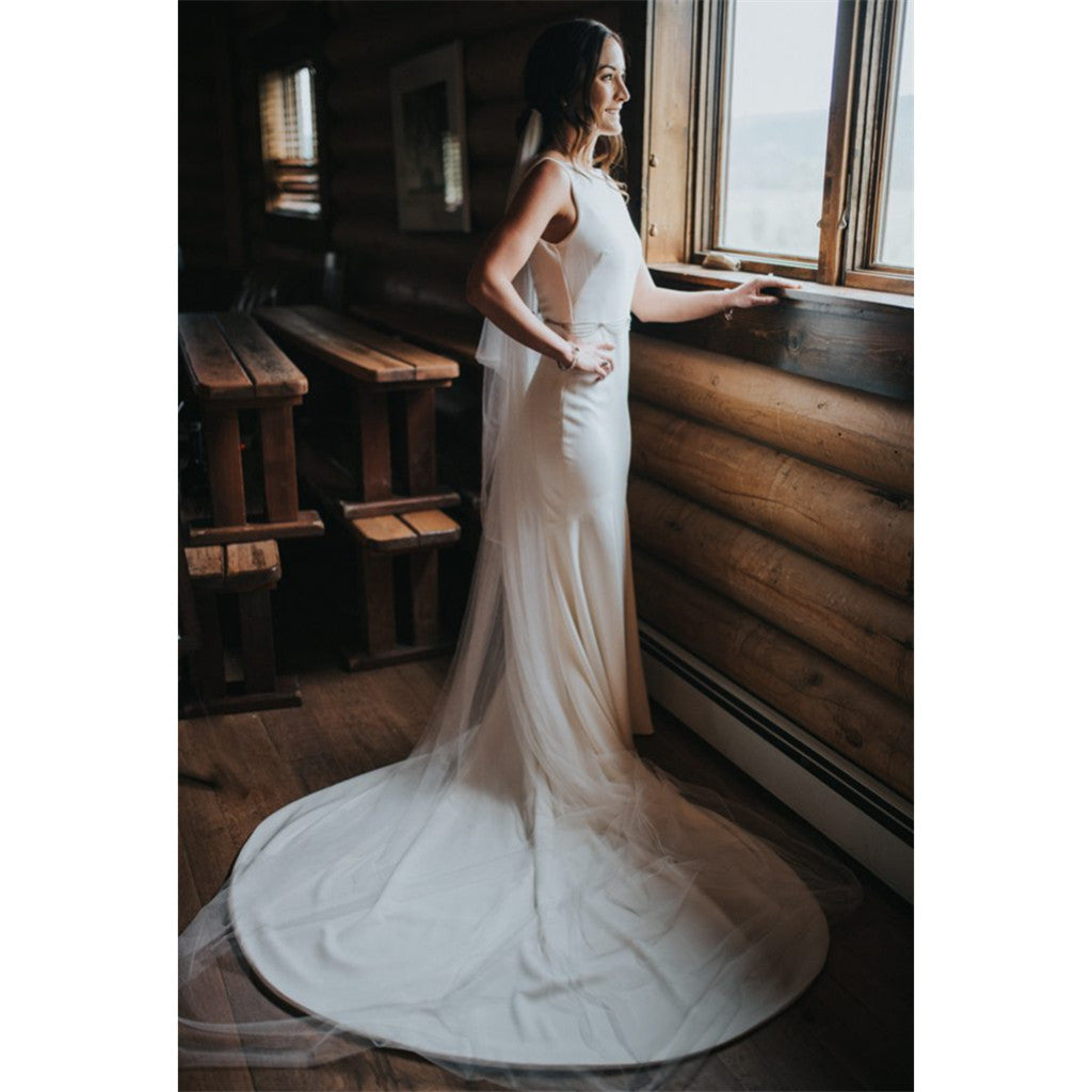 Mermaid Sleeveless Bateau Neck Backless Long Wedding Dresses, WD0440