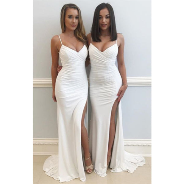 Spaghetti Straps White V-neck High Split Long Prom Dress, PD0598