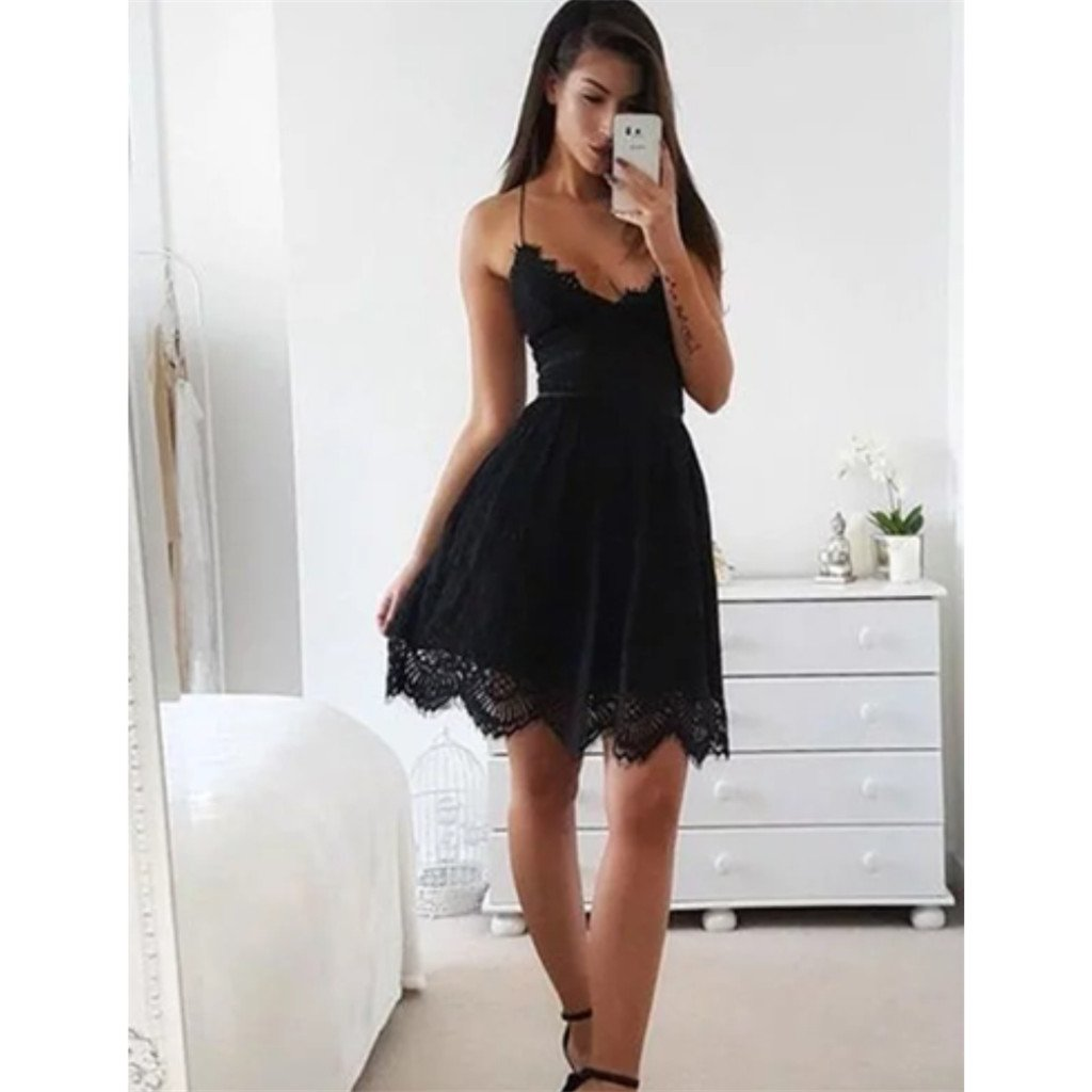 Spaghetti Straps Sleeveless Short Black Lace Simple Homecoming Dresses, HD0441