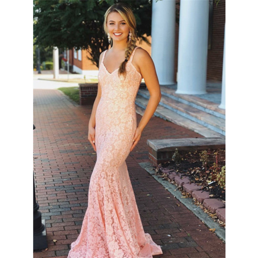 Mermaid V-neck Sleeveless Pink Lace Backless Prom Dress, PD0653