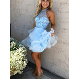 High Neck Beading Sleeveless Blue Short Homecoming Dress With Ruffles, HD0416