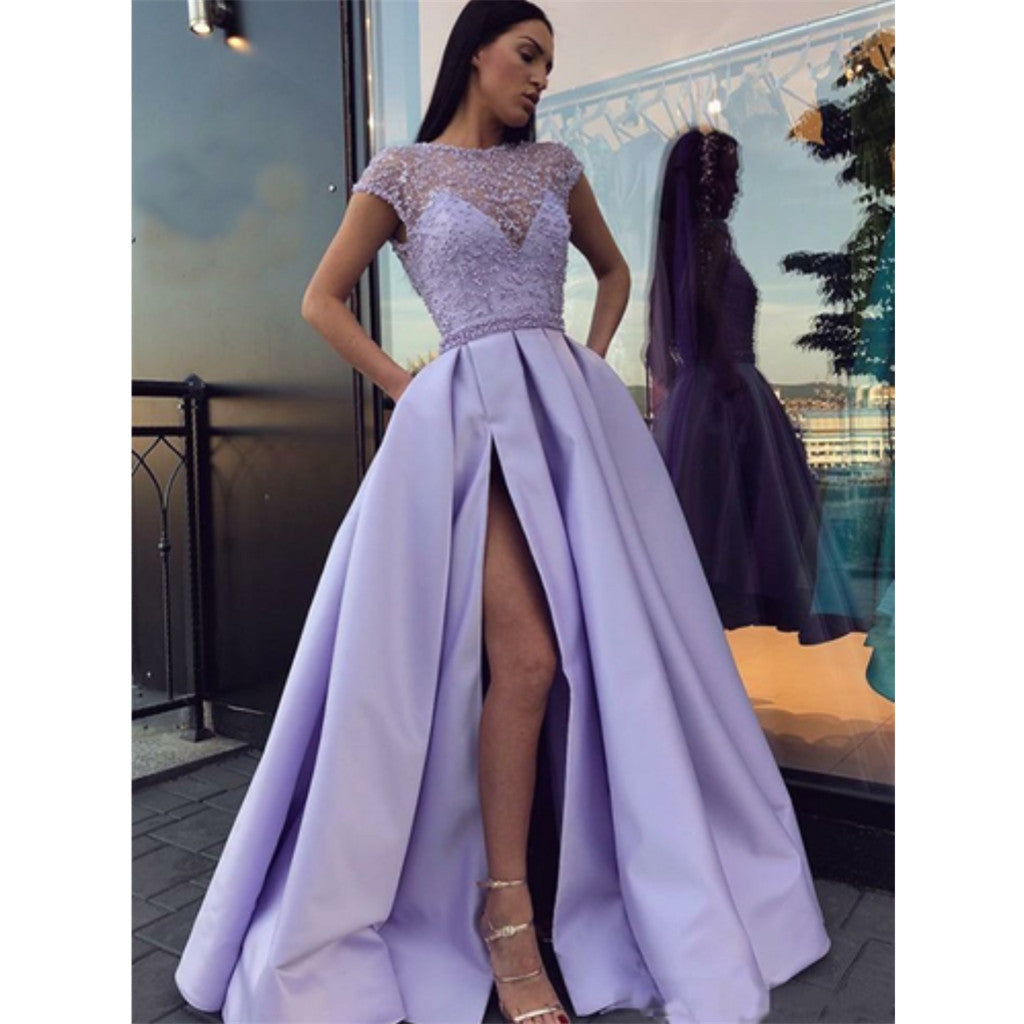 Charming Lavender Beading Cap Sleeves Long Prom Dresses, PD0670