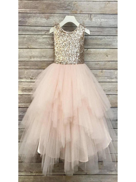 0234cb939c8 Sequin Top Rose gold Flower Girl Dress