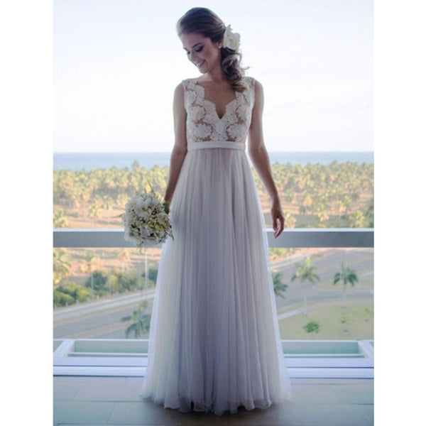 A line V-neck Vintage Lace Top Sleeveless Tulle Skirt Beach Wedding Dresses, WD0423