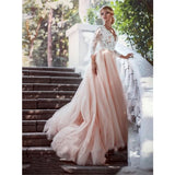 Charming Champagne Tulle V-neck Lace Top Long Sleeves Wedding Dresses, WD0387