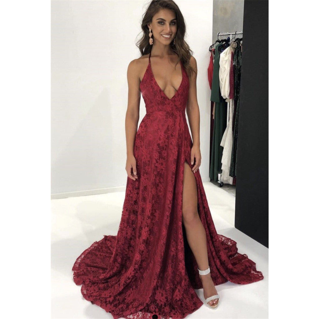 Spaghetti Straps Deep V-neck Sexy High Split Prom Dresses With Train, PD0571