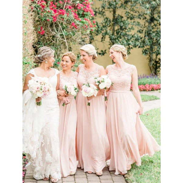 Floor-length Round Neck Lace Top Chiffon Skirt Bridesmaid dresses, BD0529