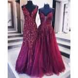 A-line V-neck Red Sequins Appliques Long tulle Prom Dress, PD0631