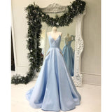 Spaghetti Straps Lace Up Back Simple Blue Prom Dress, PD0640