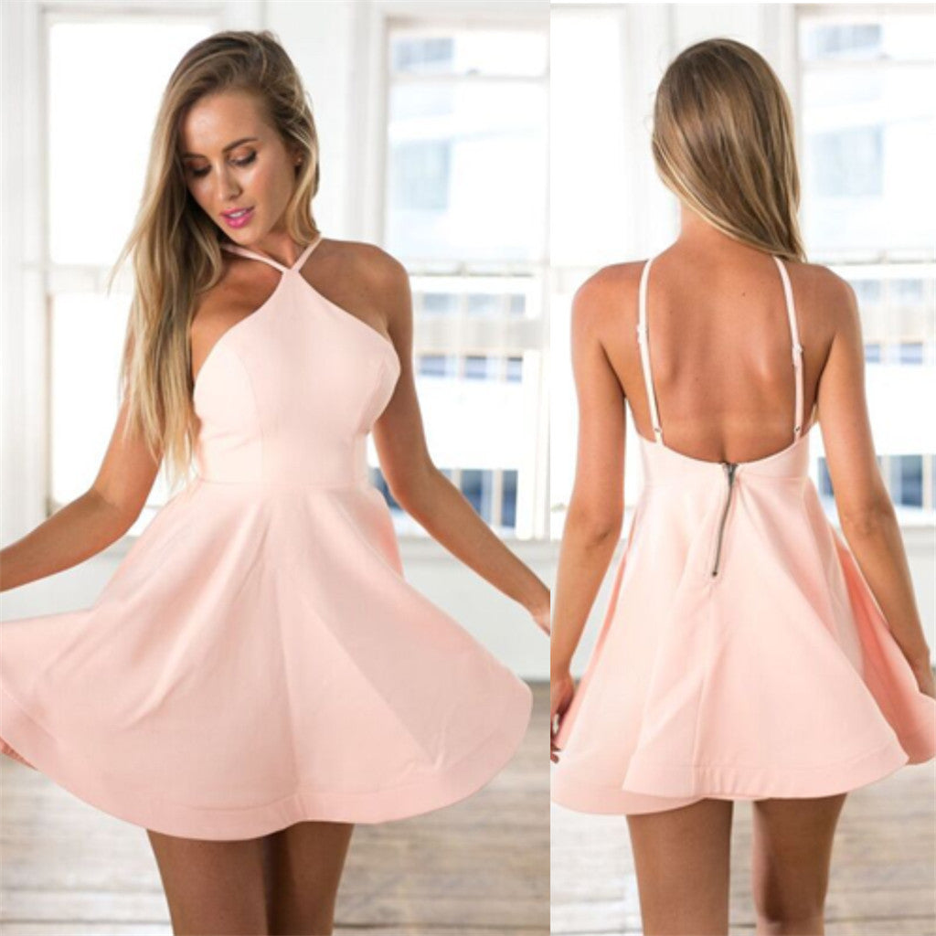Amazing simple Spaghetti Strap sexy pink backless cheap homecoming dresses , HD0346