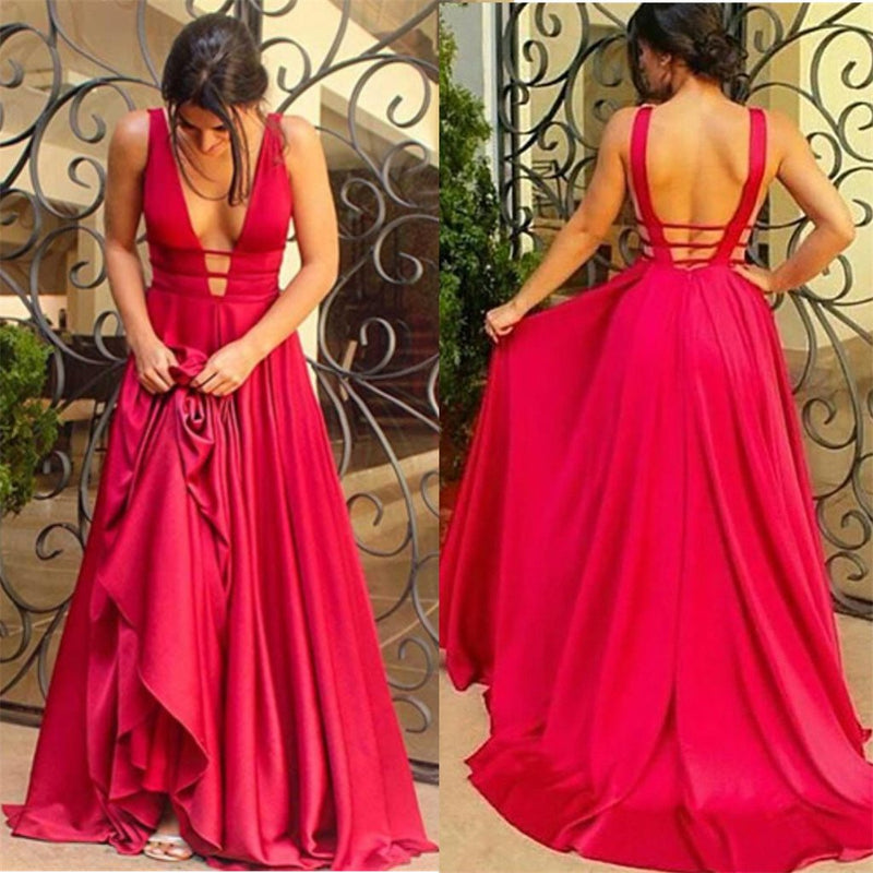 Sexy Floor-length A-Line Backless Deep V-Neck open-back formal dress, long prom dresses,  PD0101
