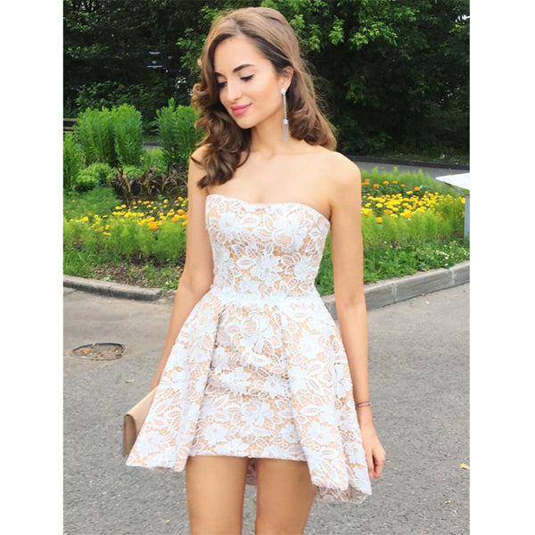 Elegant A-line Strapless White Lace short prom dresses, popular Homecoming Dress, HD0332