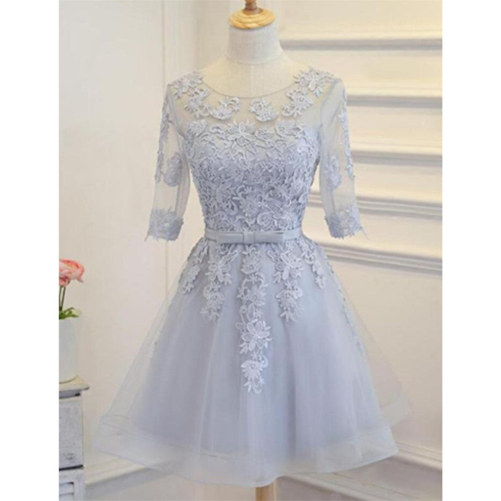 Round Neck Lace Appliques Medium Sleeves Open-back Lace Up Homecoming Dress, HD0394