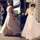 A-line Floor-length Appliques Long Tulle Prom Dresses, PD0658
