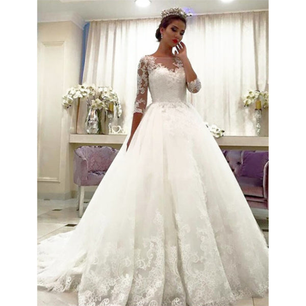 Amazing 3/4 Sleeves Lace Bateau Neck Ball gown, Wedding Dresses With Train, WD0407