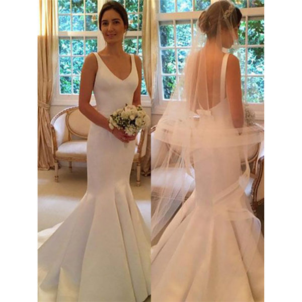Newest Mermaid V-neck Simple Backless Wedding Dresses With Train, WD0405