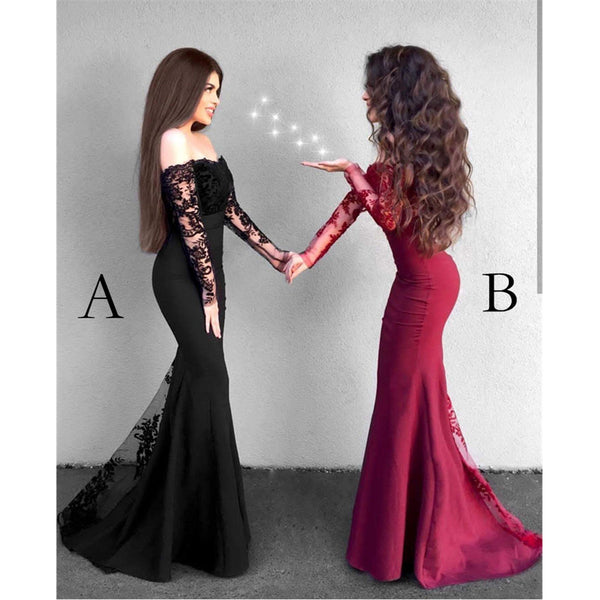Mermaid Off Shoulder Long Sleeves Lace Prom Dresses, PD0590