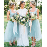 Hot selling scoop neck simple Light Blue sleeveless tulle long bridesmaid dresses, BD0453
