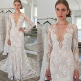 Long sleeve lace sexy white wedding dress with trailing, Sheath V-Neck Lace Wedding Dress, WD0327