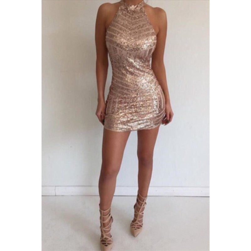 Sexy Halter Sleeveless Backless Tight Rose Gold Sequins Homecoming Dresses, HD0385