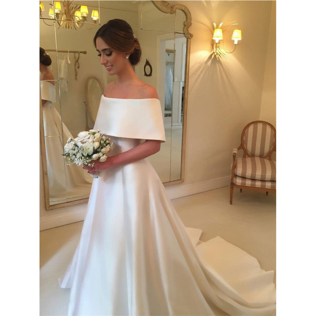 Gorgeous A-line Off-shoulder Simple Cheap Wedding Dresses With Train, WD0415