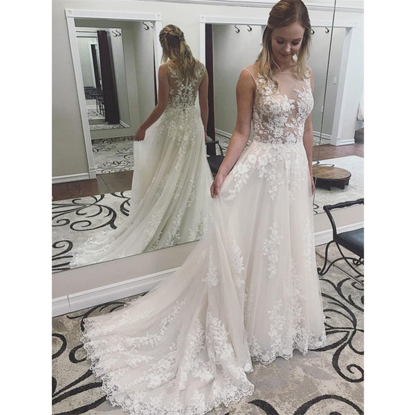 New Arrival Lace See Through Applique Wedding Dresses With Train, WD0426
