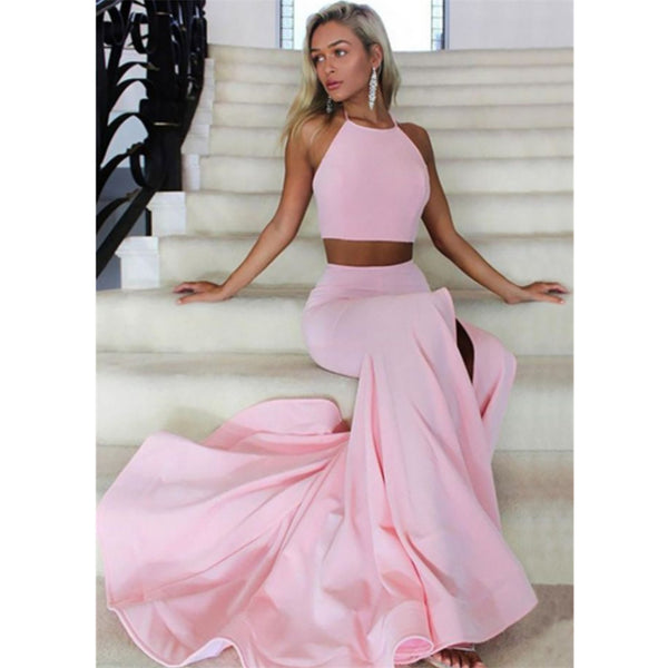Halter Sleeveless Two-Pieces Pink Long Prom Dresses With Ruffles, PD0583
